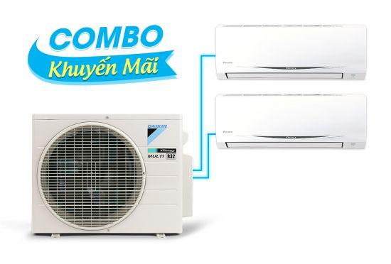 (Combo khuyến mãi) Hệ thống máy lạnh Daikin multi s inverter 3.0HP - 1 dàn nóng 2 dàn lạnh (1.5 + 1.5Hp) MKC70SVMV-CTKC35RVMV+CTKC35RVMV